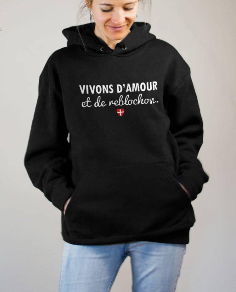 Sweat Savoie : Vivons d'amour et de reblochon femme noir