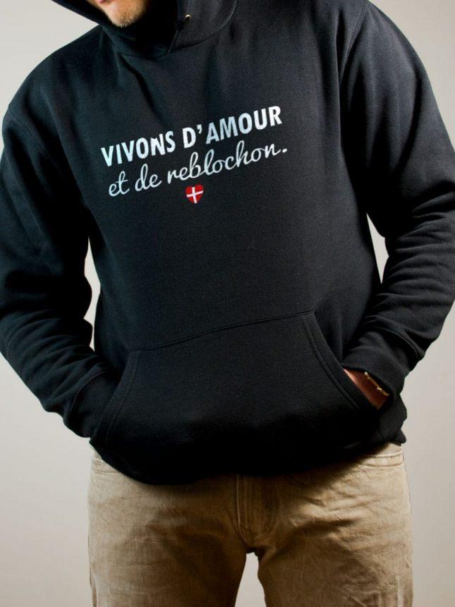 Sweat Savoie : Vivons d'amour et de reblochon homme noir