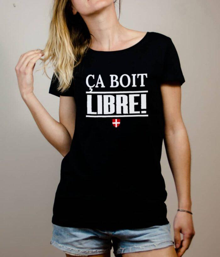 T-shirt Savoie Libre : Ça boit libre femme noir