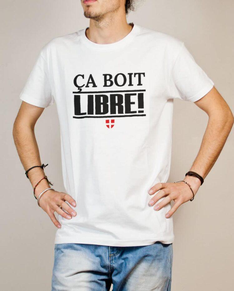 T-shirt Savoie Libre : Ça boit libre homme blanc