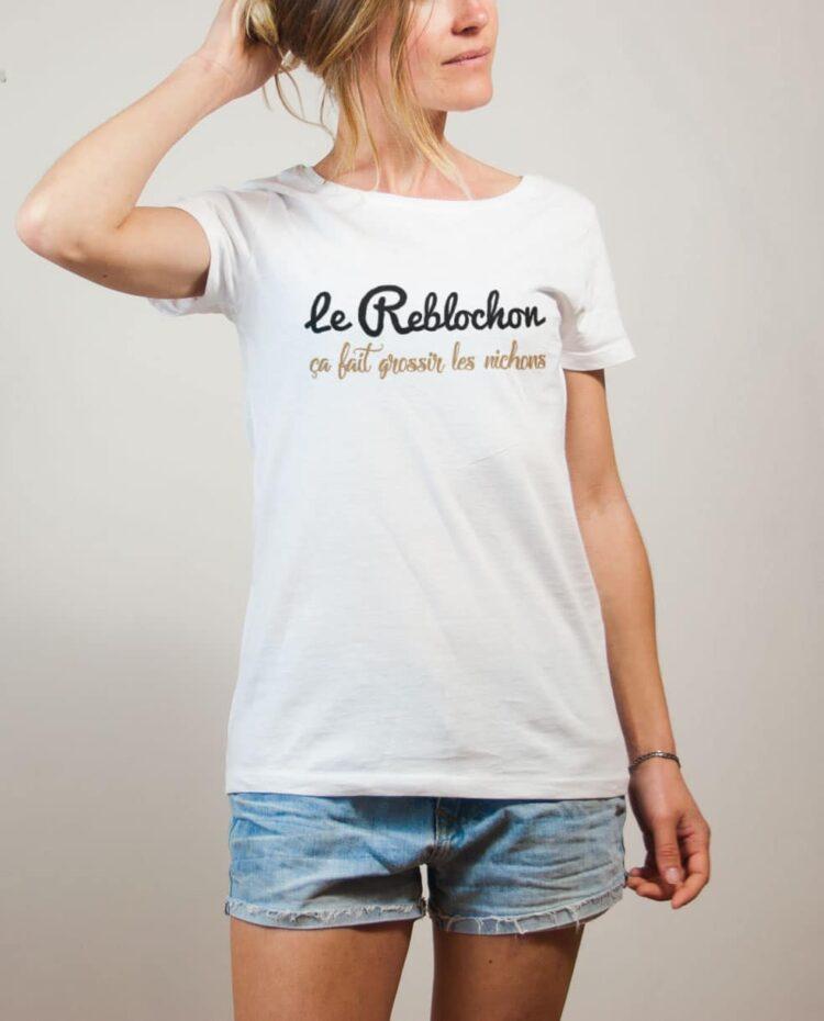 T-shirt Savoie : Le Reblochon ça fait grossir les nichons femme blanc