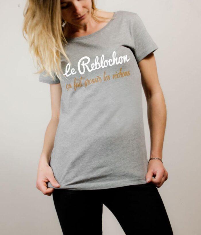 T-shirt Savoie : Le Reblochon ça fait grossir les nichons femme gris