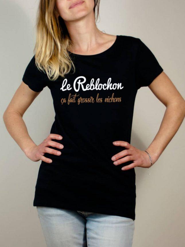 T-shirt Savoie : Le Reblochon ça fait grossir les nichons femme noir