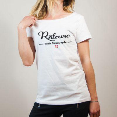 T-shirt Savoie : Râleuse mais Savoyarde femme blanc