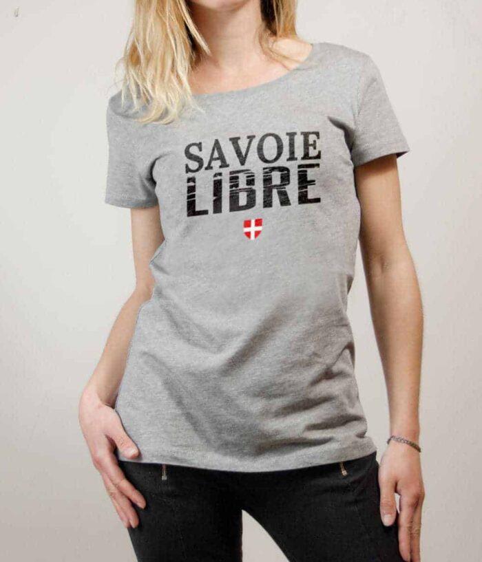 T-shirt Savoie Libre femme gris