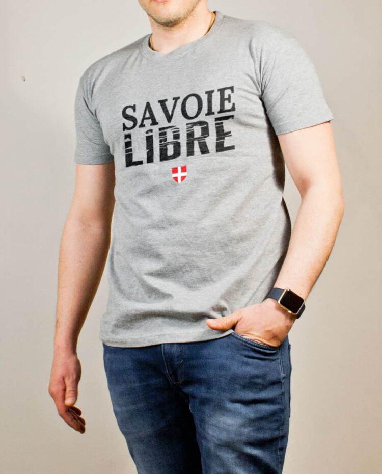 T-shirt Savoie Libre homme gris