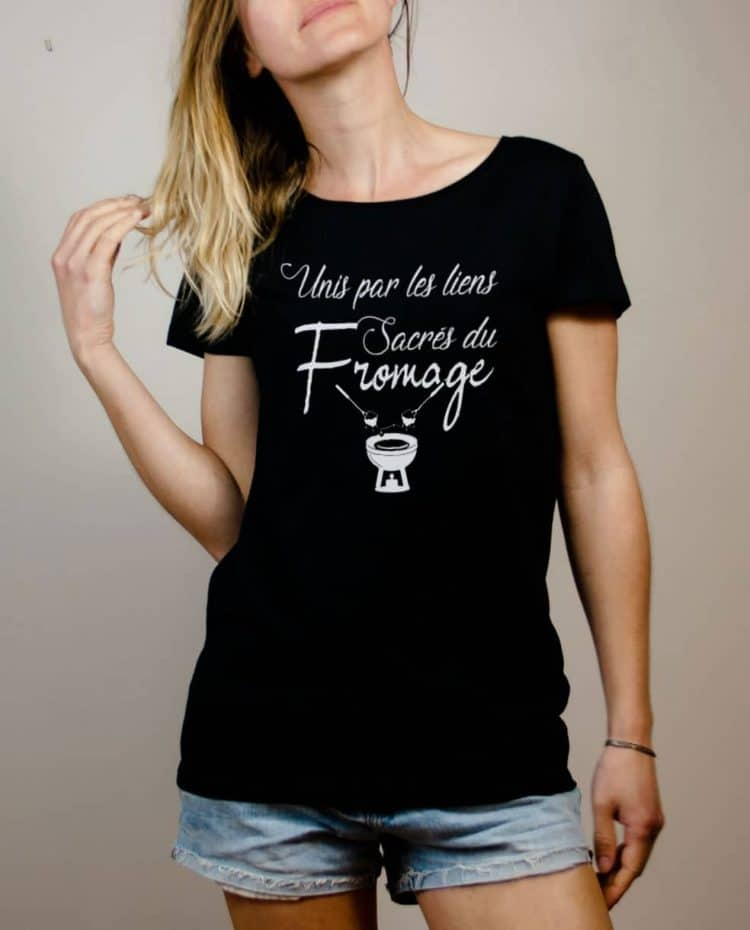 T-shirt Savoie : Unis par les liens Sacrés du Fromage femme noir