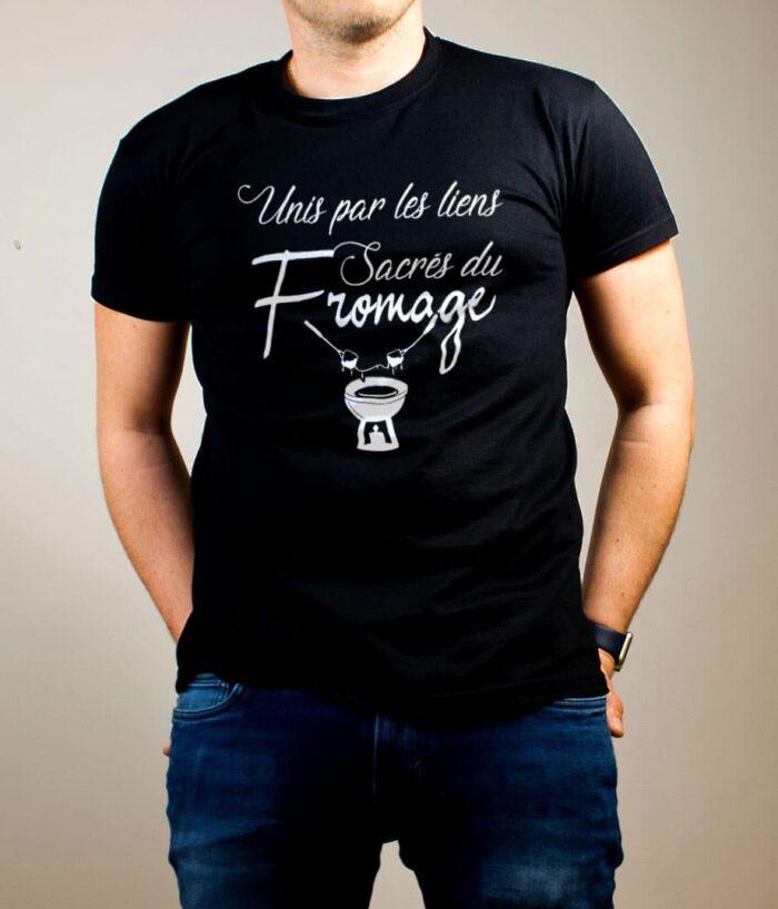 T-shirt Savoie : Unis par les liens Sacrés du Fromage homme noir