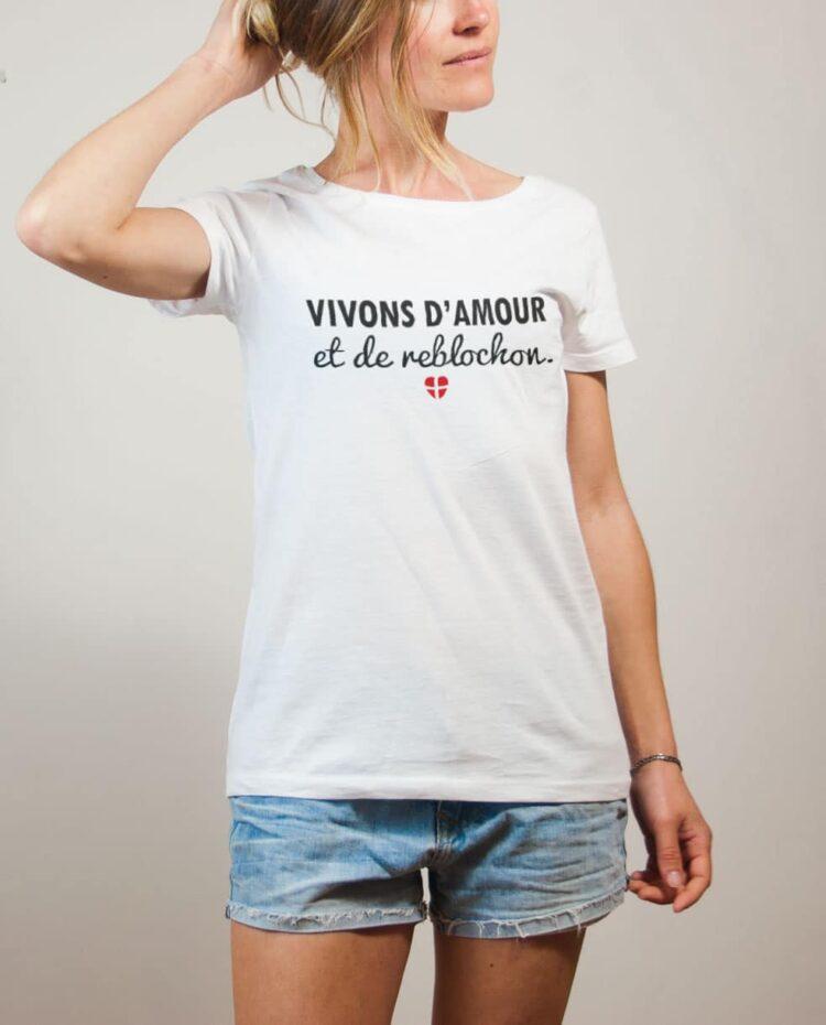 T-shirt Savoie : Vivons d'amour et de reblochon femme blanc