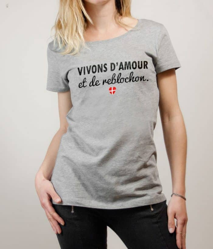 T-shirt Savoie : Vivons d'amour et de reblochon femme gris