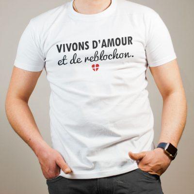 T-shirt Savoie : Vivons d'amour et de reblochon homme blanc