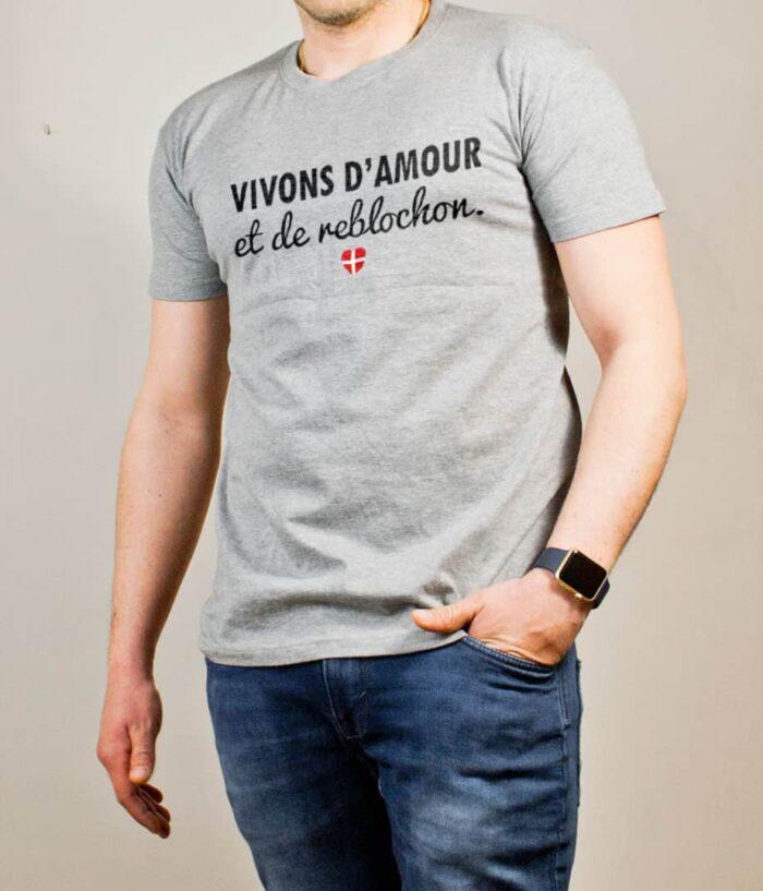 T-shirt Savoie : Vivons d'amour et de reblochon homme gris