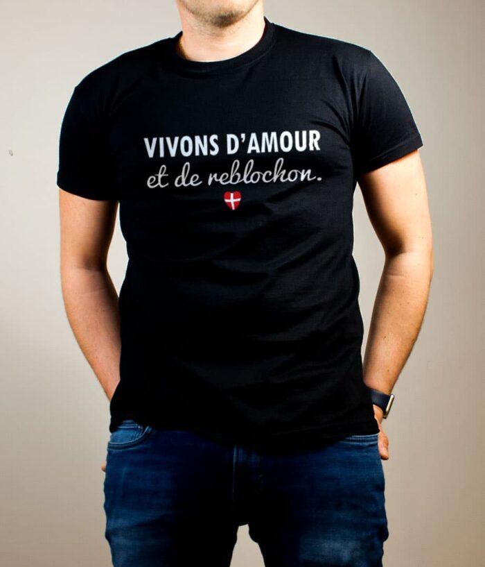 T-shirt Savoie : Vivons d'amour et de reblochon homme noir