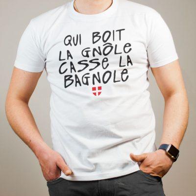 T-shirt Savoie : Qui boit la gnôle casse la bagnole homme blanc