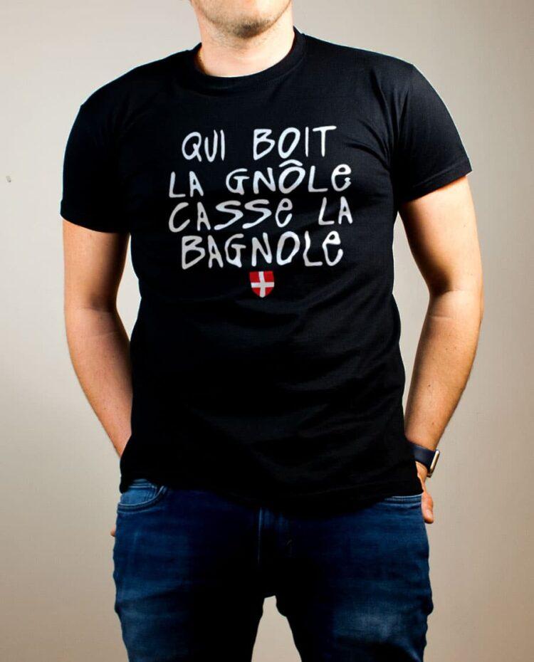 T-shirt Savoie : Qui boit la gnôle casse la bagnole homme noir