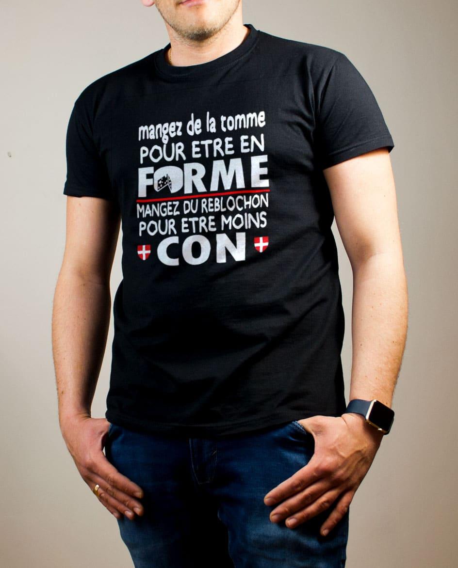 T shirt Homme : Mangez de la Tomme pour être en Forme, du