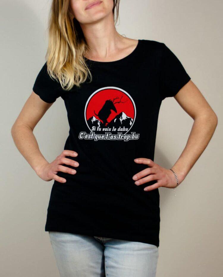 T-shirt Savoie le dahu femme noir